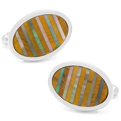 Silver-Plated Tiger's Eye and Black Mother of Pearl Oval Striations Cufflinks