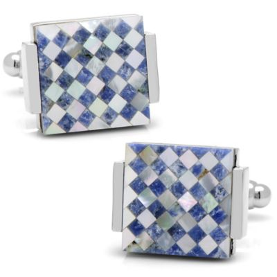 Silver-Plated Lapis and Mother of Pearl Checkered Cufflinks
