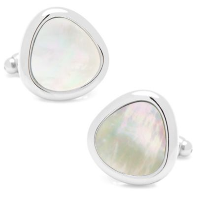 Silver-Plated Mother of Pearl Organic Teardrop Cufflinks