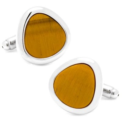 Silver-Plated Tiger's Eye Organic Teardrop Cufflinks