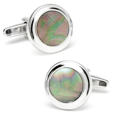 Silver-Plated Bullnose Black Mother of Pearl Cufflinks