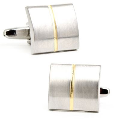Two-Tone Silver-Plated Divided Square Cufflinks
