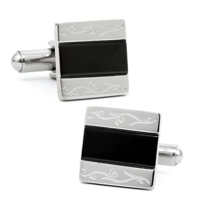 Square Etched Edge Cufflinks