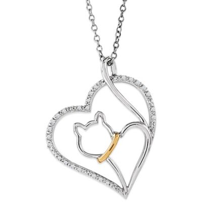 ASPCA® Tender Voices Sterling Silver .10 cttw Diamond 18-Inch Chain Cat in Heart Pendant