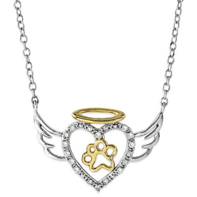 ASPCA® Tender Voices Sterling Silver 10K Yellow Gold .08 cttw Diamond Angel Heart Paw Necklace