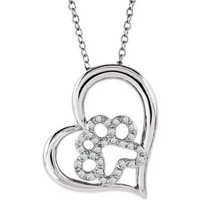 ASPCA® Tender Voices Sterling Silver .17 cttw Diamond 18-Inch Chain Tilted Heart Paw Necklace