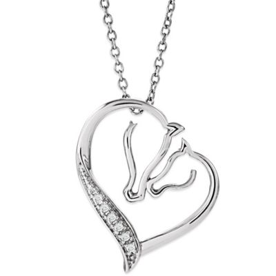 ASPCA® Tender Voices Sterling Silver .03 cttw Diamond Horse Silhouette Heart Necklace