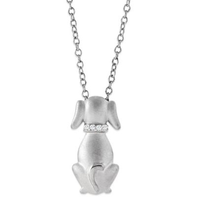 ASPCA® Tender Voices Sterling Silver .02 cttw Diamond 18-Inch Chain Sculpted Dog Necklace
