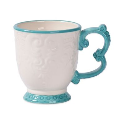 Tabletops Unlimited® Gallery Sonia Baroque Footed Mug in Turquoise
