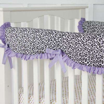 Caden Lane® Girly Purple Leopard Crib Rail Cover