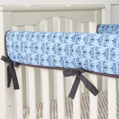Caden Lane® Blue Damask Crib Rail Cover