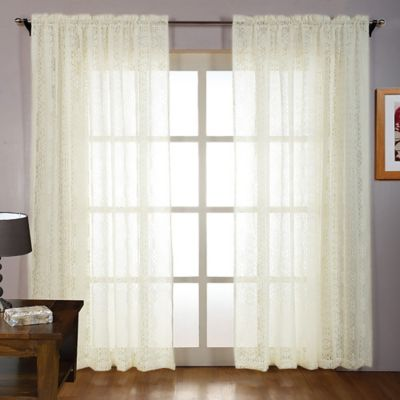 Laura Ashley® 84-Inch Tile Lace Window Panels in Linen