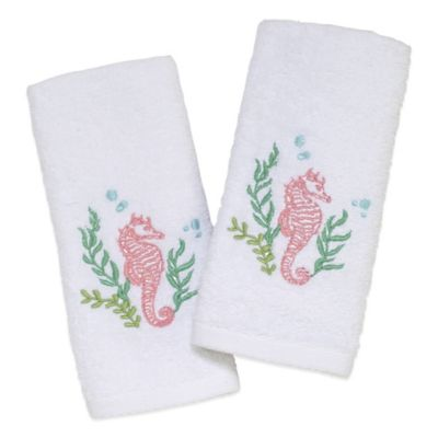 Avani Seahorse Fingertip Towels in White (Set of 2)