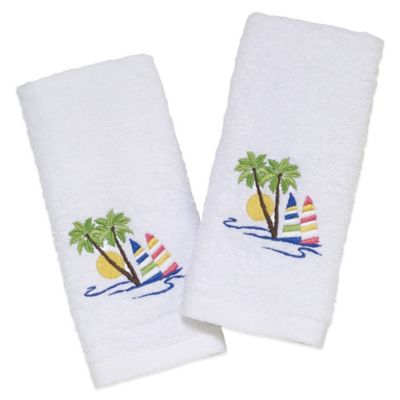 Avanti Sailboat Fingertip Towels in White (Set of 2)