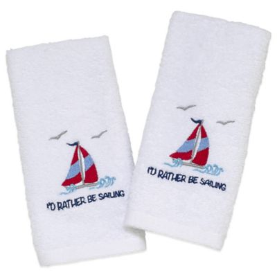 "Avanti ""I'd Rather Be Sailing"" Fingertip Towels in White (Set of 2)"