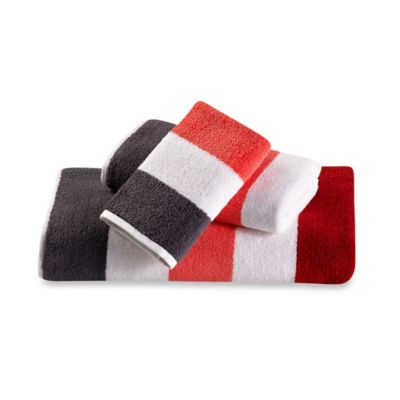 David Bromstad Jacquard Washcloth in Coral Stripe
