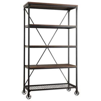 Verona Home Morgan Wide Bookcase in Brown
