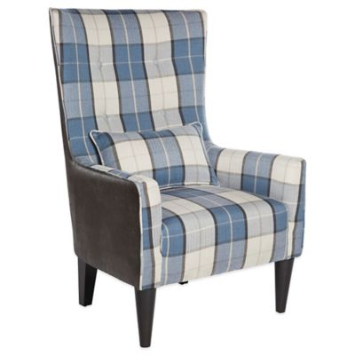 angelo:HOME Silla Chair in Charcoal Grey & Blue Carriage Plaid