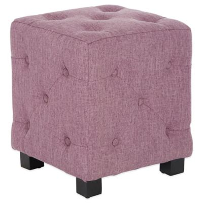 angelo:HOME Duncan Small Tufted Cube Ottoman in Smoke Grey Sand Linen