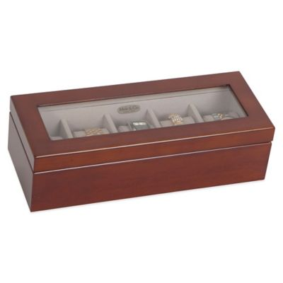 Mele & Co. Langley Glass Top Watch Box in Walnut
