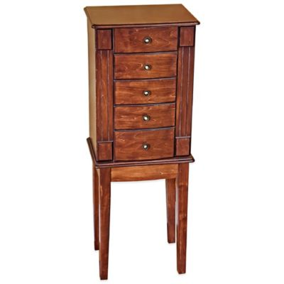 Mele & Co. Addison Wooden Jewelry Armoire in Walnut