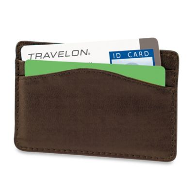 Travelon® Safe ID Leather Card Sleeve in Brown