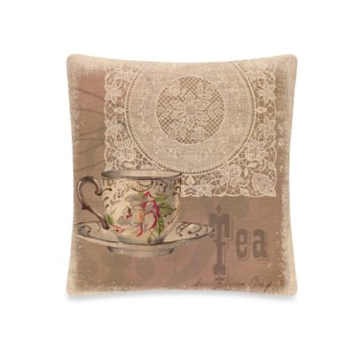 Downton Tea Square Throw Pillow