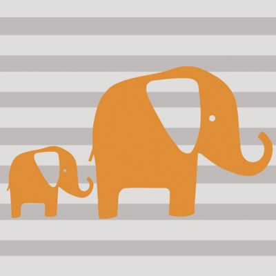 Glenna Jean Rhythm Elephant Wall Decal in Orange (Set of 2)
