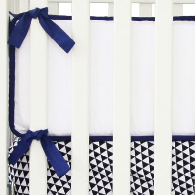 Caden Lane® Deco 4-Piece Crib Bumper in Navy/White