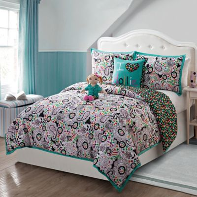 Zoe 5-Piece Reversible Full Comforter Set with Doll