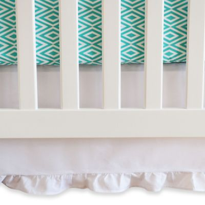 Oliver B White Crib Skirt With Gathered Trim in White