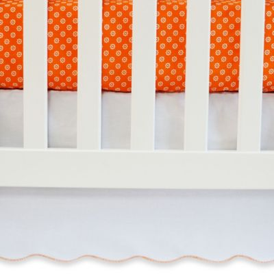 Oliver B White Crib Skirt With Scallop Trim in Orange