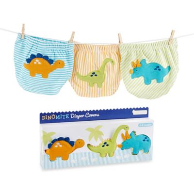 Baby Aspen Size 0-6M 3-Piece Diaper Cover Gift Set in DinoMite