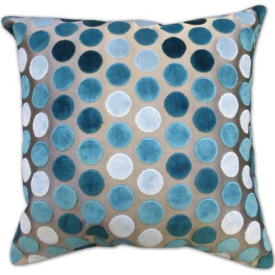 Metallic Velvet Spots Square Throw Pillow in Blue