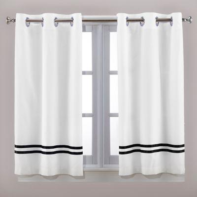 Hookless® Escape 45-Inch Bath Window Curtain Panels in Black/White