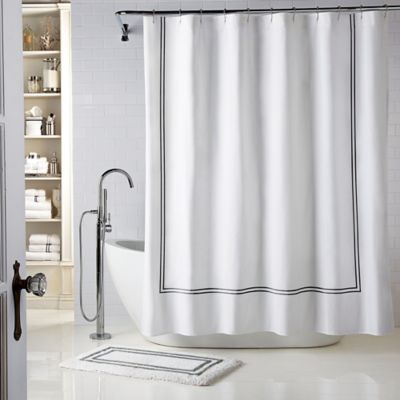 Wamsutta® Baratta Stitch 72-Inch x 96-Inch Micro Cotton Shower Curtain in White/Charcoal