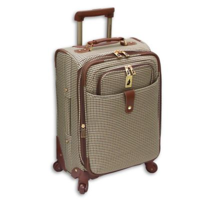 London Fog® Chelsea Lites 21-Inch Expandable Spinner with Suiter in Olive Plaid