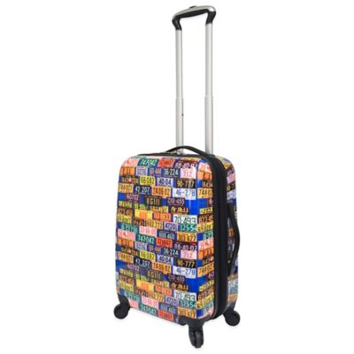 Traveler's Club 20-Inch Expandable ABS Rolling Spinner Carry-On in License Plate Pattern