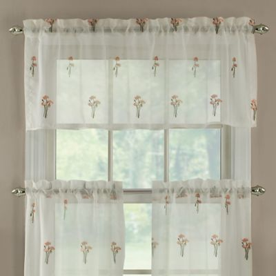 Poppy Embroidered Window Curtain Valance in Coral
