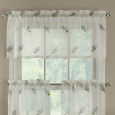 Blue Spray Embroidered Window Valance in Blue