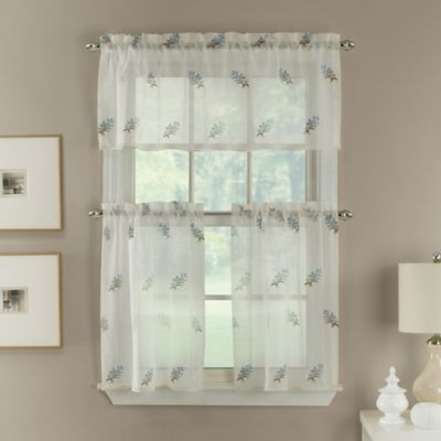 Blue Spray Embroidered Window Curtain Tier Pair in Blue