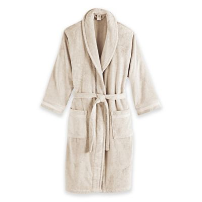 Frette at Home Size Small/Medium Unisex Milano Terry Bathrobe in Ivory