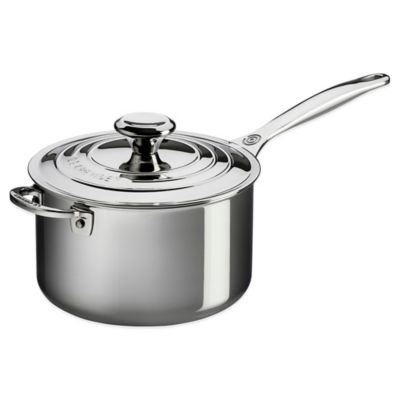 Le Creuset® 4-Quart Tri-Ply Stainless Steel Covered Saucepan