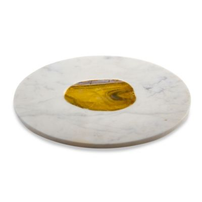 Thirstystone® Round Serving Board in White Marble/Agate Inlay