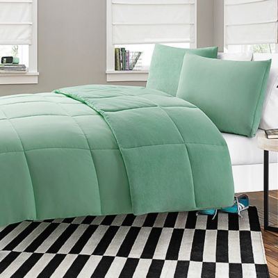 Microfiber-to-Plush Reversible 2-Piece Twin XL Comforter Set in Aqua