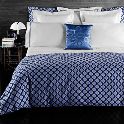 Frette At Home Ticino Waves European Pillow Sham in Royal Blue