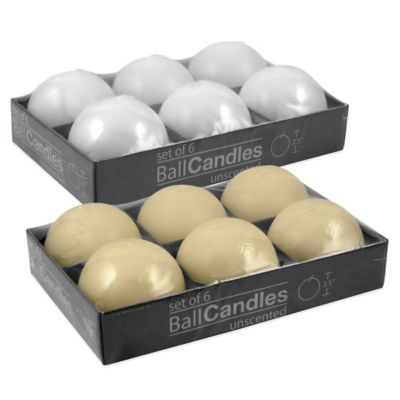 Unscented Ball Candles in Ivory (Set of 6)
