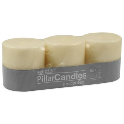 Unscented Pillar Candle in Ivory (Set of 3)