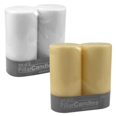 Unscented Pillar Candles in White (Set of 2)