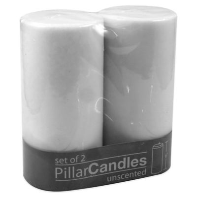 Zodax Unscented Pillar Candles in White (Set of 2)